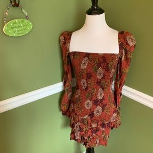 Shophopes floral print ruched fall dress